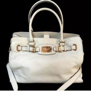 MICHAEL KORS Ivory Pebble Leather HAMILTON Handbag